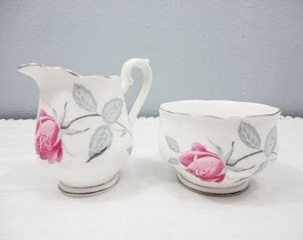 Royal Albert Pink Rose Gray Leaves Bone China Milk Jug and Sugar Bowl