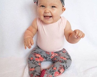 floral baby girl leggings, coming home outfit, newborn, 0-3 months, take home outfit, baby topknot headband