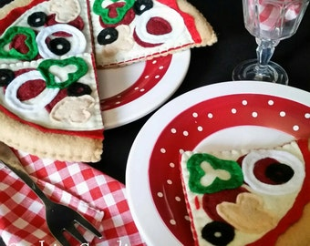 Handmade Felt Food Combination Pizza for Pretend Play