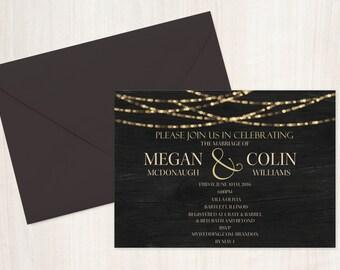 Rustic Wedding Invitation, Barnboard Wedding Invitation, Wood and Lights, Twinkle Lights Wedding Invitation, Printable Invitation,