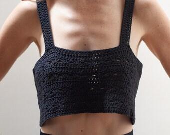 Slouchy black crochet singlet