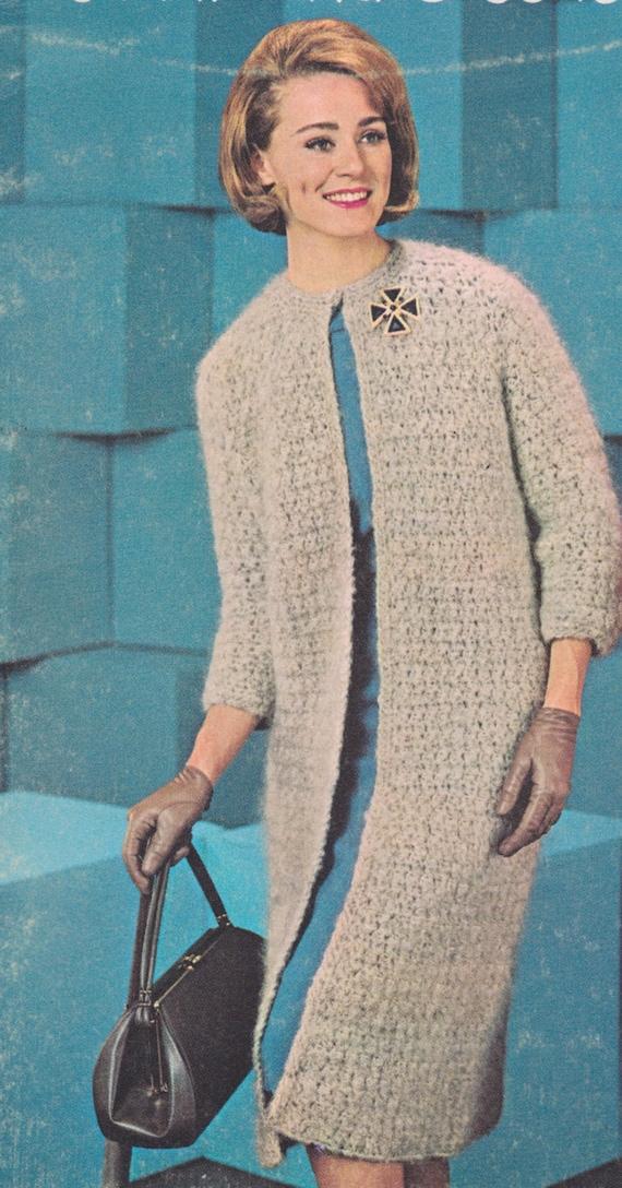 584 Ladies Coat Crochet Pattern Long Sweater Pattern Long