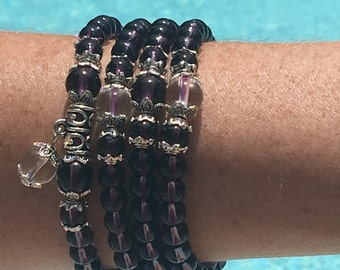AMETHYST /QUARTS BUDDHA  prayer bead (stretch)