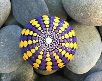 painted mandala / painted rocks / hand painted mandala / mandala rock / purple mandala / hue of blue studio / mandala stone / one of a kind