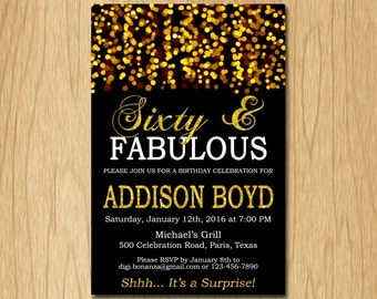Sixty and FABULOUS Birthday Invitation Gold  Birthday Party Invite Adult Elegant Surprise Birthday Printable Digital AFBG60