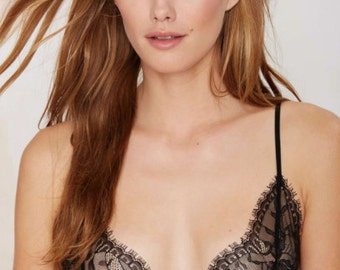 B E L L E Black Lace Triangle Bralette