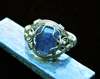 Kyanite- Sterling Silver Kyanite Ring - Wire Wrap Ring -  Size 9 - Kyanite Jewelry - Kyanite Wire Wrap Ring - Natural Stone Ring