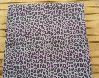 Pink and grey cheetah print baby blanket