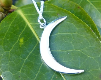 Moon Crescent Waxing Moon 925 Sterling Silver Necklace Celestial Pendant Simple Chain 1130