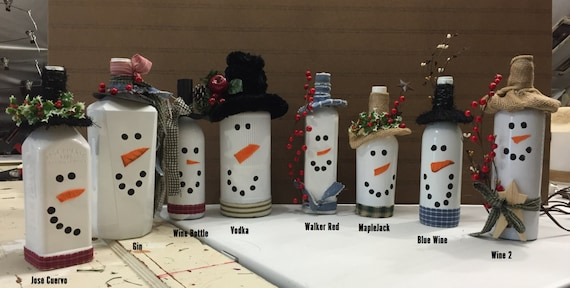 Snowman Liquor Bottle Light (Set 1)
