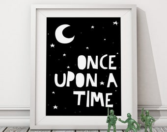 "illustration ""Once Upon A Time"" poster, Kids poster, Typography poster, Print poster, Wall art, Wall decor, Kids room, Nursery Poster"