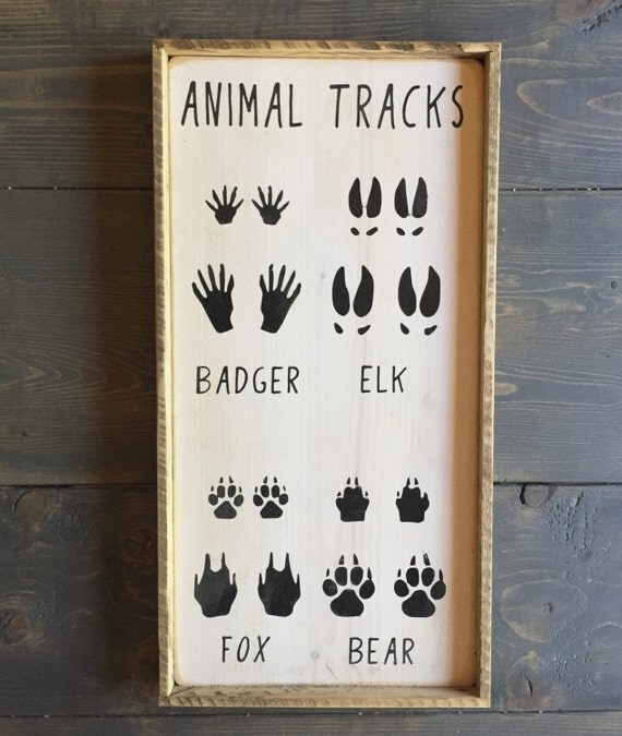 Animal Tracks Sign Hunting Sign Nursery Decor By