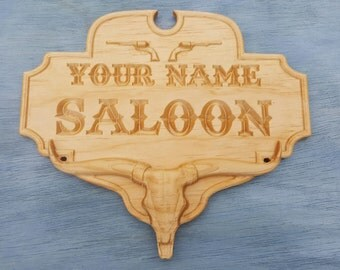 Personalized Carved Solid Wood Saloon Sign