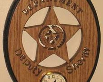 Deputy Sheriff Oval Clock With Texas State Seal