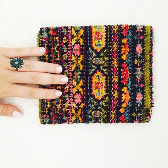 70s Tapestry Fold Over Pocket Purse