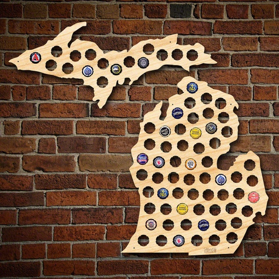 Michigan Beer Cap Map Upper Peninsula Engravable MI