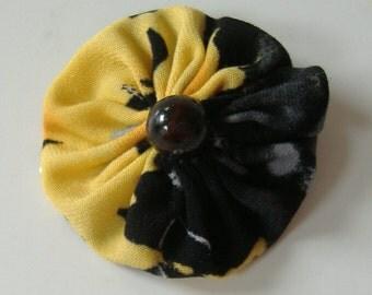 Fabric Yoyo Hair Clip, 2 Inch Hair Clip, Yellow and Black Yoyo Barrette, Hair Clip With Black Bead, Repurposed Fabric