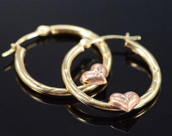 10K Hollow Hoop Rose Heart Earrings Yellow Gold