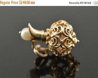 1 Day Sale 14K Vintage 3D Pearl Bead Accented Filigree Pitcher Charm/Pendant Yellow Gold