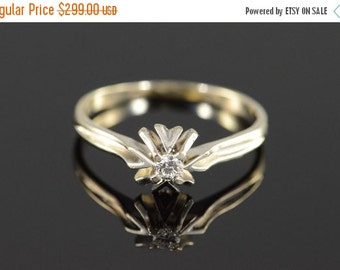 ON SALE 14K 0.08 Ct Diamond Vintage Solitaire Engagement Ring Size 9 White Gold