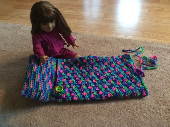 Free Crochet Pattern For American Girl Sleeping Bag : 18 doll American girl OG girl crochet sleeping bag
