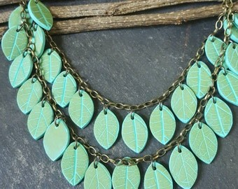 Leaf Drops in Pale Green - multi strand necklace