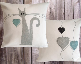 Pillows decorative 'cats and hearts' by Collection.