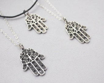 SALE - Hamsa Hand Pendant on Silver or Suede Necklace