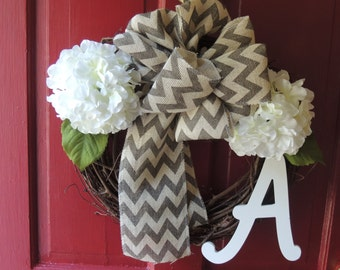 Twing wreath with gray and letter monogrammed
