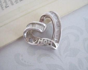 Sterling Silver Heart Pendant, Silver Heart Pendant, I LOVE MOM