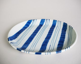Vintage Blue and White Handmade Small Boho Platter from the 1970's