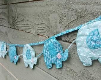 Elephant bunting, Blue for a baby boys Nursey 1.7m long