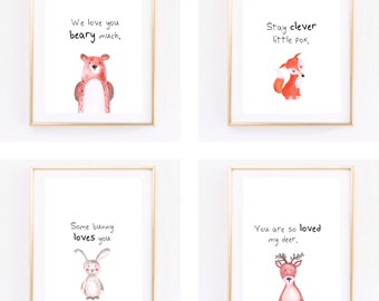 Watercolour Woodland nursery/ toddler room print