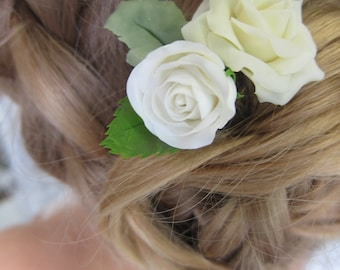 Ivory roses pin, bridal hair flower, bridal flower hair pin, wedding hair flowers, bridal hair pin, hair clay flower, bridal hair accessory