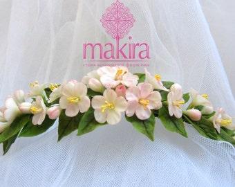 Сherry blossom comb - bridal flower comb - headband - blossom hair comb - wedding flower comb - spring flower comb. Flower hair accessory