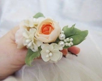 English rose, bridal hair pin, bridal pearl pin, bridal flower pin, wedding hair pin, sakura ivory, cold porcelain, peach rose, bridal pearl