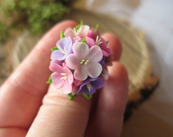 Pink flower ring, lilac ring, flower ring, cold porcelain, flowers jewelry, floral ring, polymer clay flower, clay lilac, lilac, gift to her