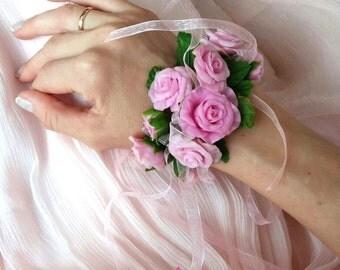 Flower bracelet, pink roses bracelet, bridal bracelet, pink flowers bracelet, wedding flowers bracelet, rustic bracelet, cold porcelain,clay