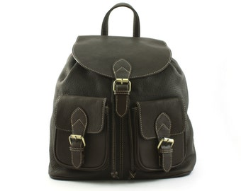Black Leather Backpack / Rucksack / Carry Bag