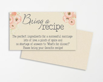 Shabby Chic Printable Wedding Recipe Cards | Recipe for Marriage | Bridal Shower Recipe Cards | Wedding Printable | Bridal Shower Printable