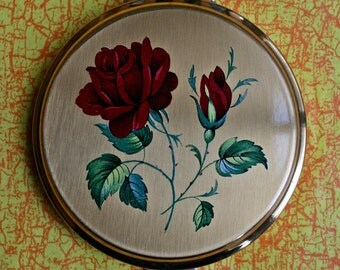 Vintage Stratton Red Rose Gold Tone Compact 1960s