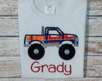 Boy's shirt; Boy's shirt with truck; Monster truck; Personalized shirt; Boy's summer shirt; Boy's monster truck; Shirt with truck;