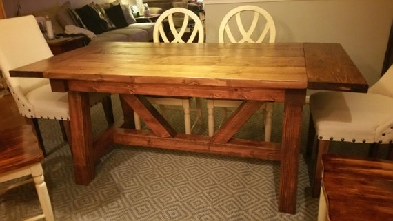 farmhouse dining table w truss beam legs