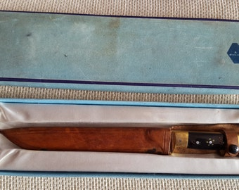 Vintage 1980's Hunting Knife with Leather Scabbard and Original Case