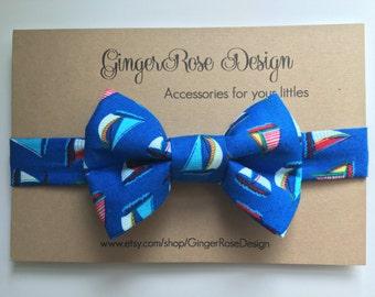 Sailboat Bow Tie; Boat Bow Tie; Nautical Bow Tie; Boy Bow Tie; Baby Bow Tie; Toddler Bow Tie; Adjustable Bow Tie