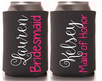 Personalized Wedding Party Can Drink Holders