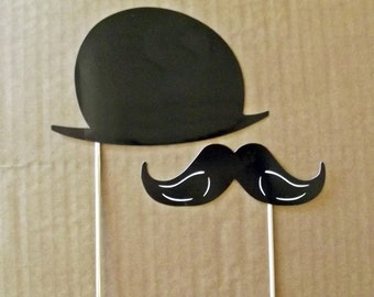 Black  Mustache Die Cuts and Black Hat, Photo Prop, 20 Pcs Fun Party Supply,party wedding engagement birthday