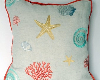 ON SALE nautical beach house coral embroidered starfish and seashell pillow for sofa chair or couch