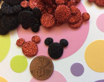 SET of 20 Black and Red Padded Shiny Mouse Appliques/Mickey/Minnie/bow/hair bow centers/diy/trim/embellishments