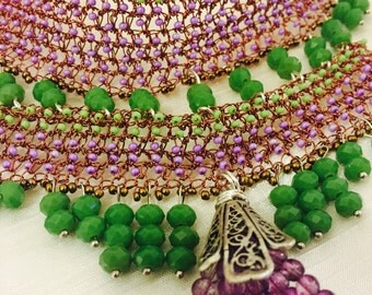 Green and purple Handmade Necklace with cyristal and glass beads